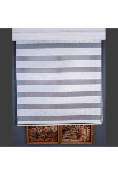 Aniper Zebra Perde Beyaz Damask Desen Gümüş Simli Stor 80x200 cm