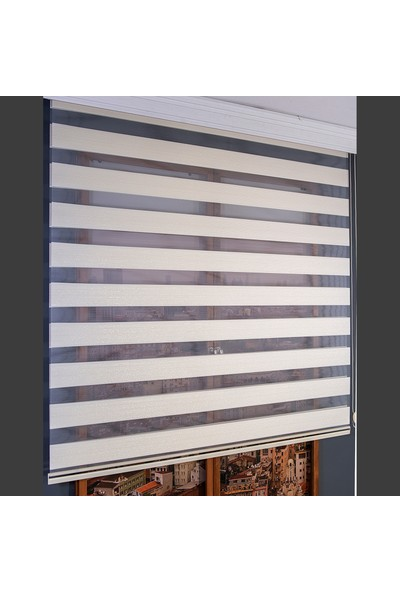 Aniper Zebra Perde Krem Simli Micro Plise 80x200 cm
