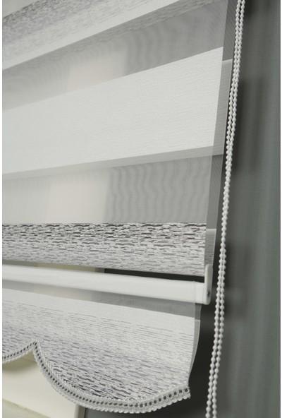 Tekstil Line Gri Melanj Etekli Zebra Stor Perde Faturalı