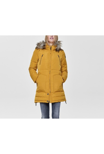 Only Kadın Günlük Mont 15182370-GOLDEN Yellow Sarı Onlrhoda Winter Coat Otw