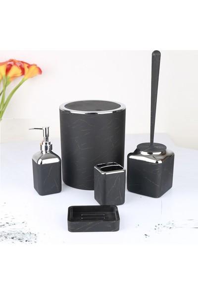 Hsb Akrilik 5 Parça Banyo Seti Krom Siyah Mermer Desenli