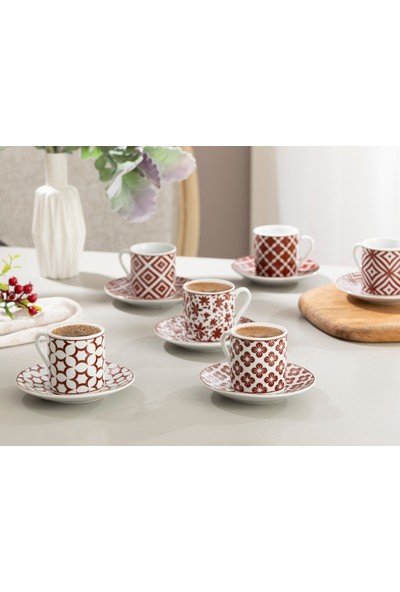 English Home Mira Porselen Kahve Fincan Takımı 80 ml Bordo