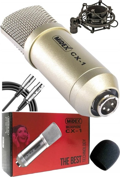 Midex CX1 Set Condenser Mikrofon Ses Kartlı Mikser + Stand + Filtre