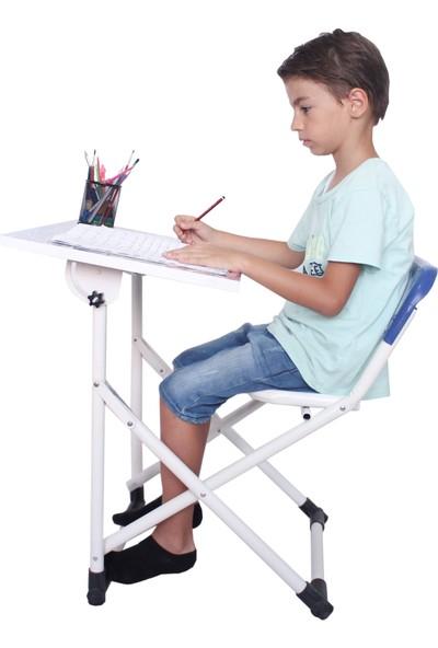 Bebelow Yazı Tahtalı Lüks Katlanabilir Sandalyeli Çocuk Ders Çalışma Masası