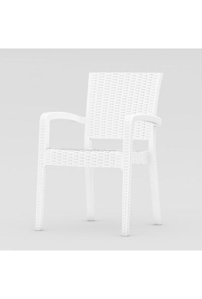 Sf Sandalye Fabrikası Plastik Luca Rattan Sandalye Beyaz