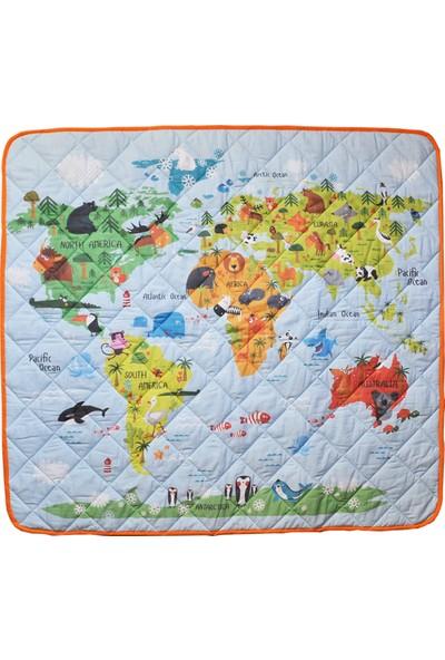 Parilico Dünya Haritası Eğitici Çok Amaçlı Organik Oyun Halısı