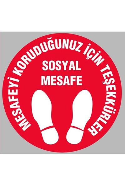 AraBulGelsin 30 x 30 cm Sosyal Mesafe Uyarı Etiketi Yer Stickerı 10'lu