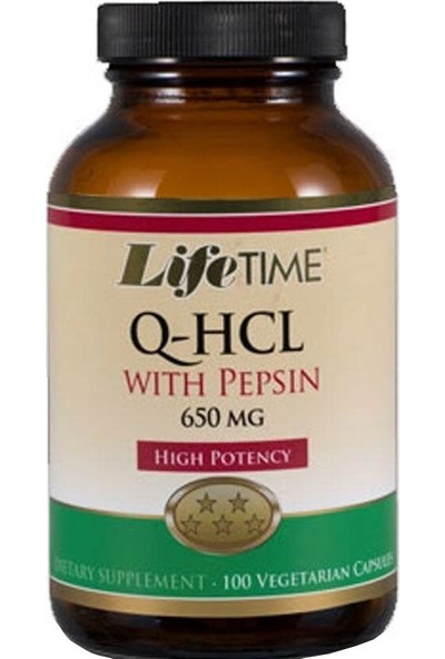 Lifetime Q-Hcl With Pepsin Takviye Edici Gıda 100 Kapsül