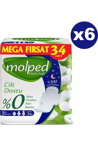 Molped Pure & Soft Hijyenik Ped Gece Mega Fırsat 34'lü x 6 Paket