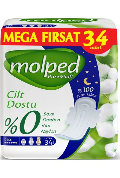 Molped Pure&soft Hijyenik Ped Gece Mega Fırsat 34 Adet