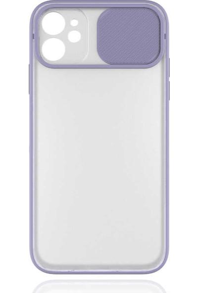 Lopard Apple iPhone 11 Kılıf Şeffaf Lensi Kamera Sürgülü Koruma Lila