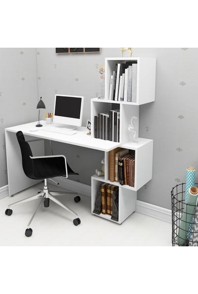 Rosette Labirent Beyaz Kitaplıklı Çalışma Masası