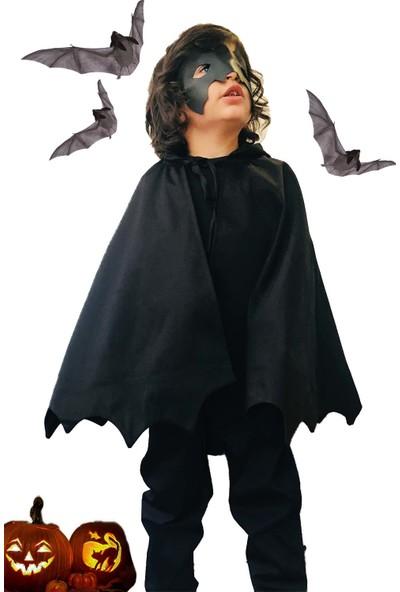 Shecco Babba Cadılar Bayramı Çocuk Kapişonlu Siyah Yarasa Pelerin ve Maske Takım