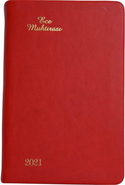 Ece Ajandası - 2021 Muhtıra Koleksiyonu - 5 D Galata 8,5 x 13 cm Kırmızı