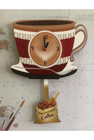 Sokaktaki Hediyem Kahve Fincanı Sallanır Sarkaçlı Mutfak Duvar Saati