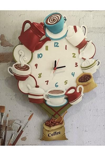 Sokaktaki Hediyem Kahve Şöleni Sallanır Sarkaçlı Mutfak Duvar Saati