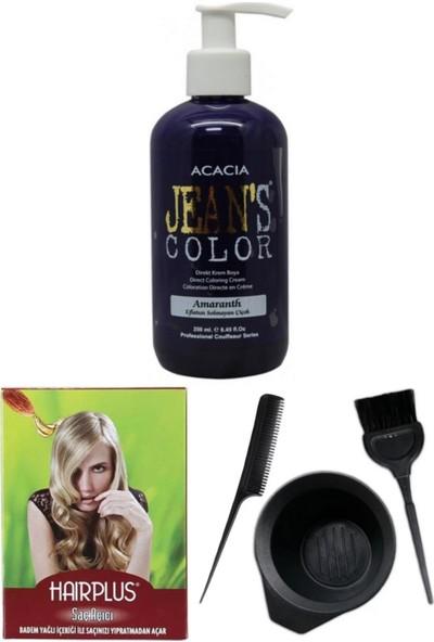 Acacia Jeans Color Saç Boyası Eflatun 250ml, Saç Açıcı ve Saç Boya Kabı Seti