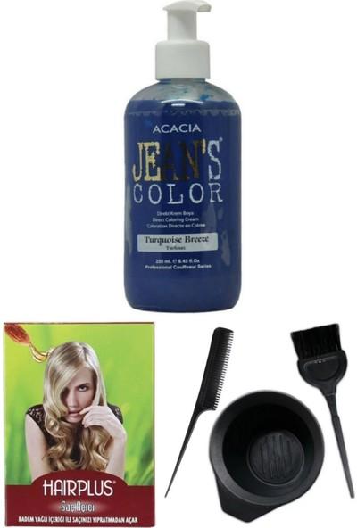 Acacia Jeans Color Saç Boyası Turkuaz 250ml, Saç Açıcı ve Saç Boya Kabı Seti