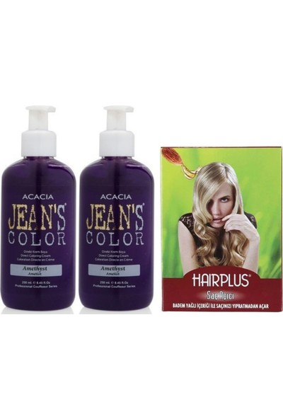 Acacia Jeans Color Saç Boyası Ametist 250ml 2AD ve Hairplus Saç Açıcı