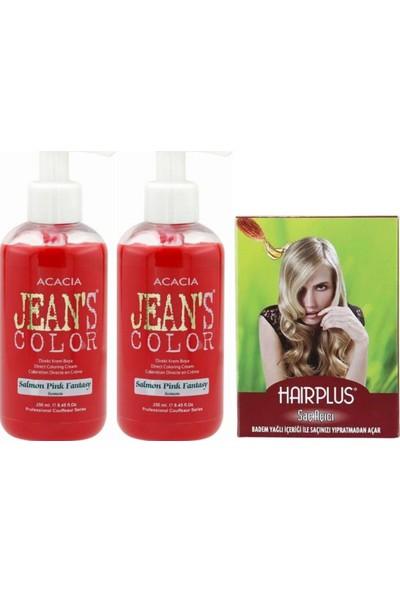 Acacia Jeans Color Saç Boyası Somon 250ml 2AD ve Hairplus Saç Açıcı