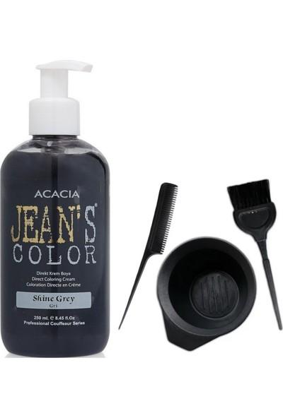 Acacia Jeans Color Saç Boyası Gri 250ml ve Saç Boya Kabı Seti