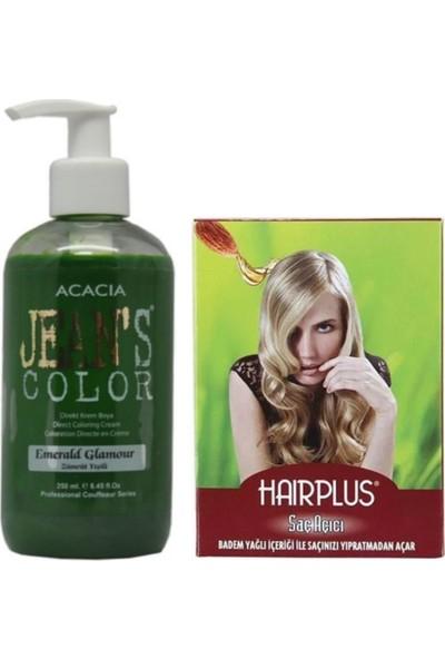 Acacia Jeans Color Saç Boyası Zümrüt Yeşili 250ml ve Hairplus Saç Açıcı