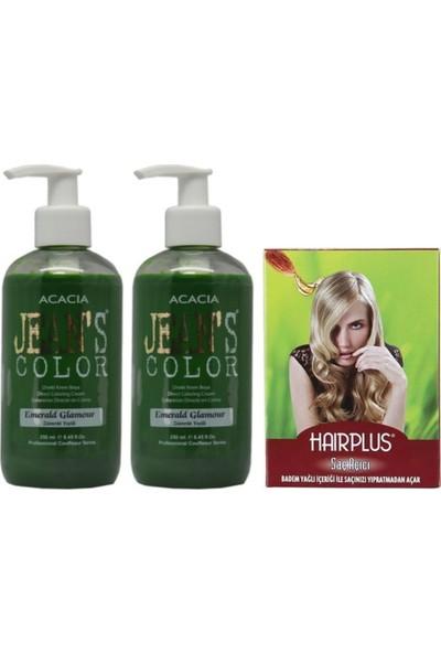 Acacia Jeans Color Saç Boyası Zümrüt Yeşili 250ml 2AD ve Hairplus Saç Açıcı