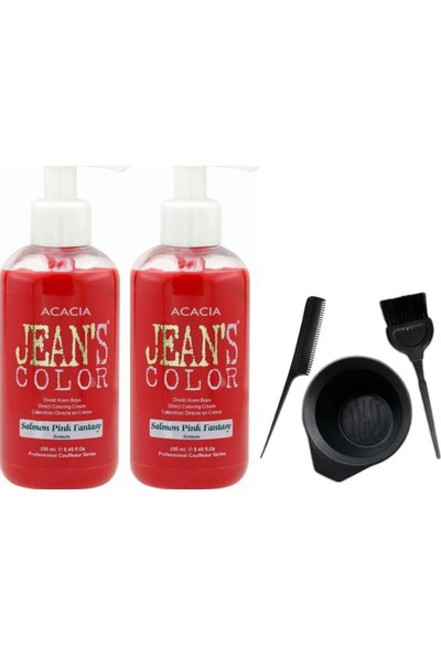 Acacia Jeans Color Saç Boyası Somon 250ml 2AD ve Saç Boya Kabı Seti