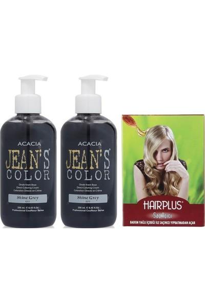 Acacia Jeans Color Saç Boyası Gri 250ml 2AD ve Hairplus Saç Açıcı