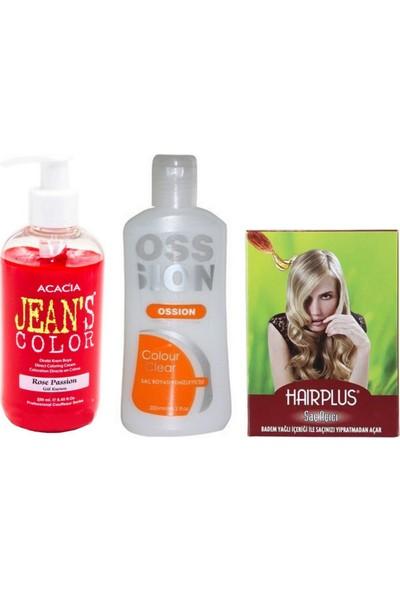 Acacia Jeans Color Saç Boyası Gül Kurusu 250ml ve Ossion Boya Silici ve Hairplus Saç Açıcı