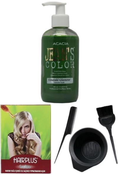Acacia Jeans Color Saç Boyası Zümrüt Yeşili 250ml, Saç Açıcı ve Saç Boya Seti