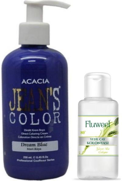 Acacia Jeans Color Saç Boyası Mavi Rüya 250ml ve Yeşil Çay Kolonyası 35ml
