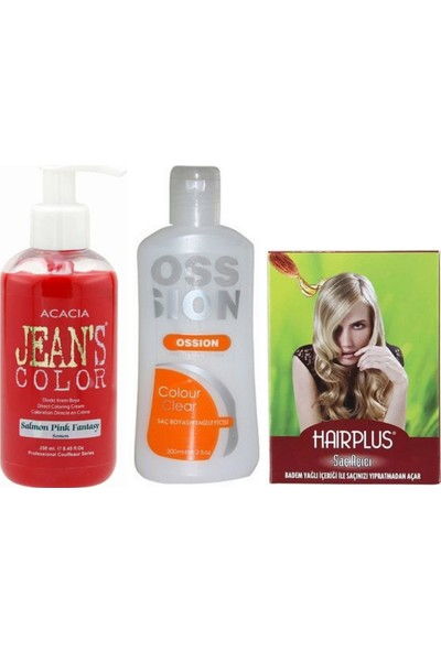 Acacia Jeans Color Saç Boyası Somon 250ml ve Ossion Boya Temizleyici ve Saç Açıcı