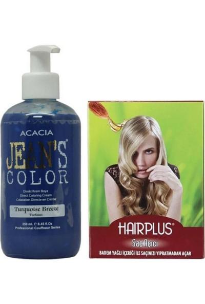 Acacia Jeans Color Saç Boyası Turkuaz 250ml ve Hairplus Saç Açıcı