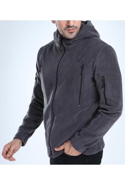 Genıus Store Erkek Polar Tam Fermuarlı Kapşonlu Tactical 5 Fermuarlı Cep Outdoor Polar
