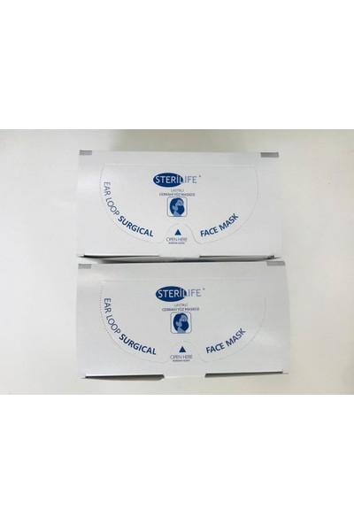 Sterilife 3 Katlı Orta Katmanı Filtreli Ince Lastikli Telli Cerrahi Yüz Maskesi 50'li 2 Kutu