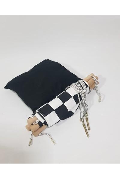 Mavienerji Ahşap Çocuk Salıncağı - Hamak Beşik Siyah Kareli Model
