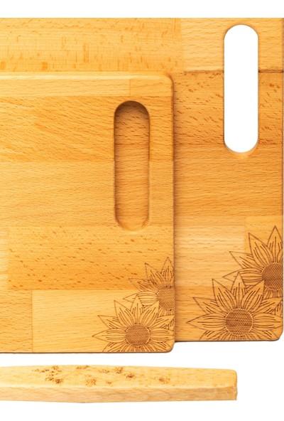 Bungalowa® 3'lü Masif Ahşap Set - 2'li Kesme ve Sunum Tahtası ve Ahşap Kaşık