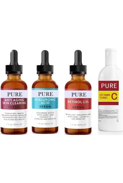 Pure 3'lü Serum -Anti Aging-Retinol-Hyaluronic Asit Serum Tonic