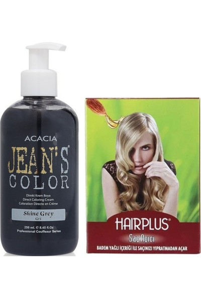 Acacia Jeans Color Saç Boyası Gri 250ml ve Hairplus Saç Açıcı