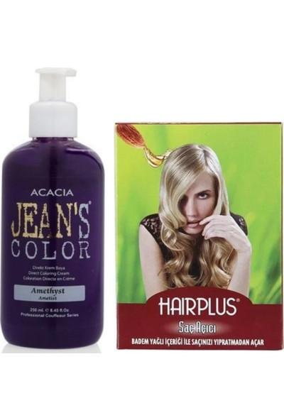 Acacia Jeans Color Saç Boyası Ametist 250ml ve Hairplus Saç Açıcı