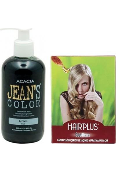 Jeans Color Saç Boyası Yeşil 250ml ve Hairplus Saç Açıcı