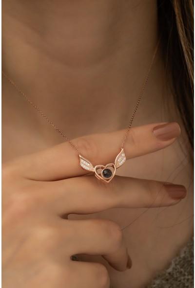 Nereze 925 Ayar Gümüş 100 Dilde Seni Seviyorum Kalpli Melek Kanadı Kadın Gümüş Kolye