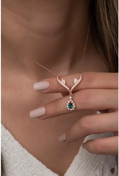Nereze 925 Ayar Gümüş Yeşil Damla Taşlı Tasarım Kadın Gümüş Kolye