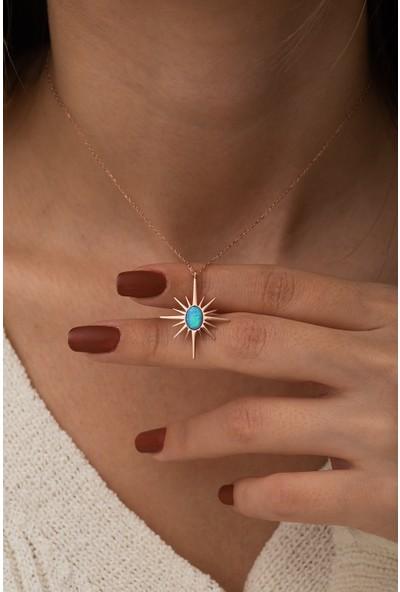 Nereze 925 Ayar Gümüş Opal Taşlı Kutup Yıldızı Kadın Gümüş Kolye