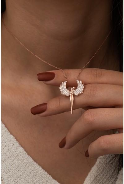Nereze 925 Ayar Gümüş Rose Kanatlı Sevgililer Kadın Gümüş Kolye