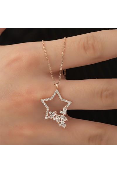 Nereze 925 Ayar Gümüş Baget Taşlı Yıldız Kadın Gümüş Kolye