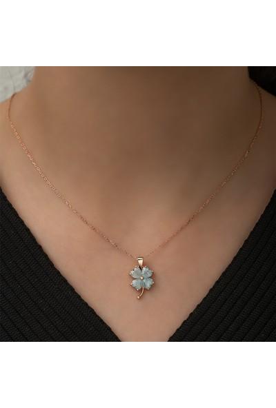 Nereze 925 Ayar Gümüş Buz Mavisi Yonca Kadın Gümüş Kolye