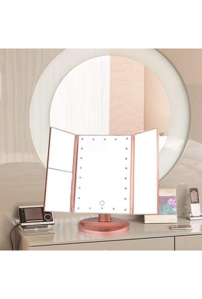 İkonya Pembe Renkli 180 Derece Ayarlanabilir LED Dokunmatik Ekran Kapaklı Makyaj Masası Aynası Model