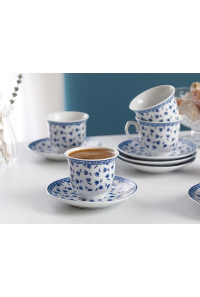 English Home Briana Porselen 12 Parça Kahve Fincan Takımı 90 ml Mavi
